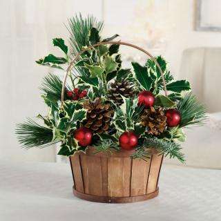Evergreen Holly Basket